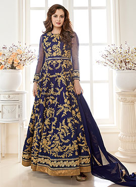 Navy Blue Georgette N Art Silk Anarkali Suit