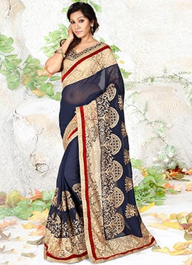 Navy Blue Georgette N Net Saree