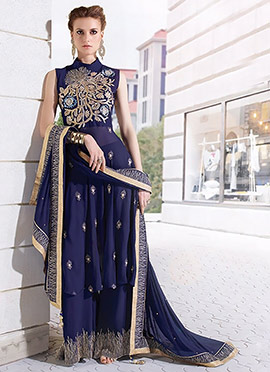 Navy Blue Georgette Palazzo Set