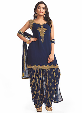 Navy Blue Georgette Patiala Suit