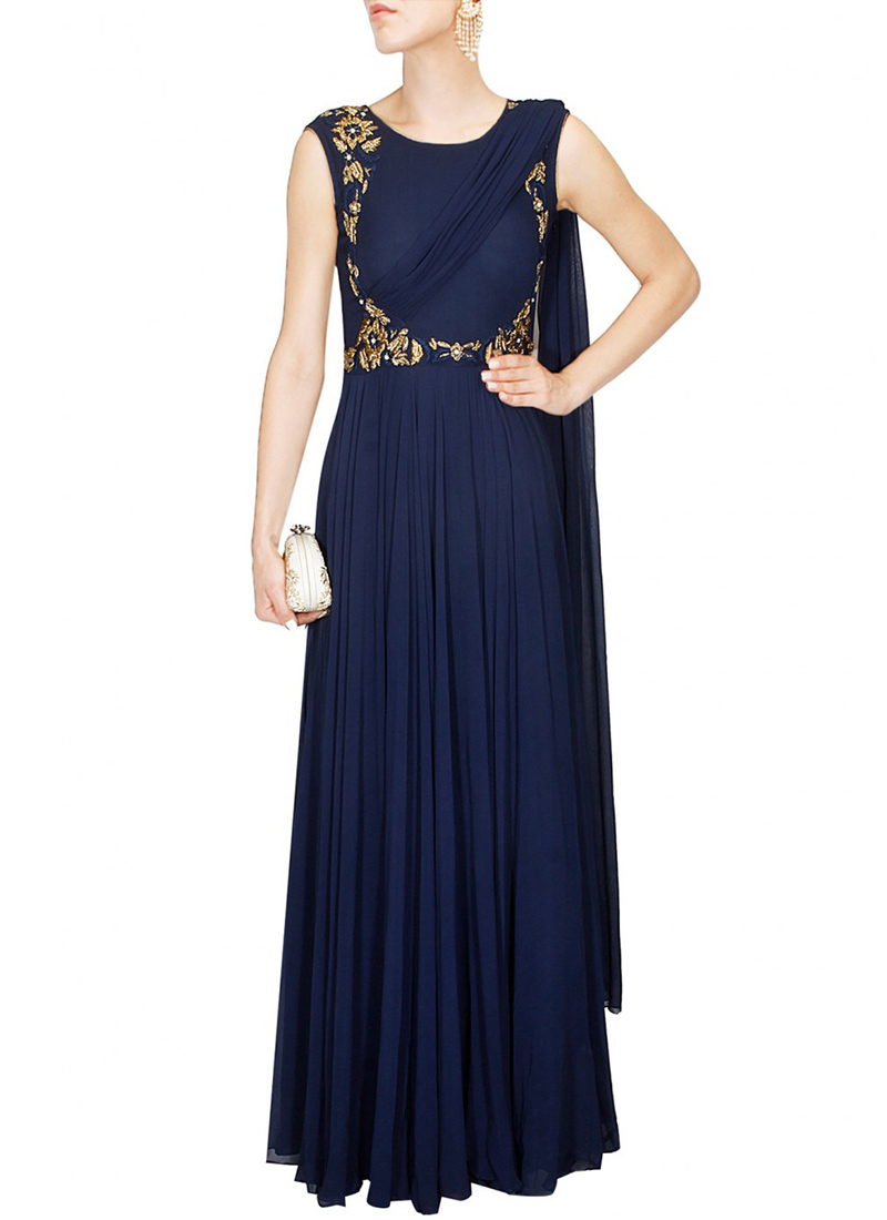 Buy Navy Blue Georgette Saree Gown, Embroidered, dresses and gown ...