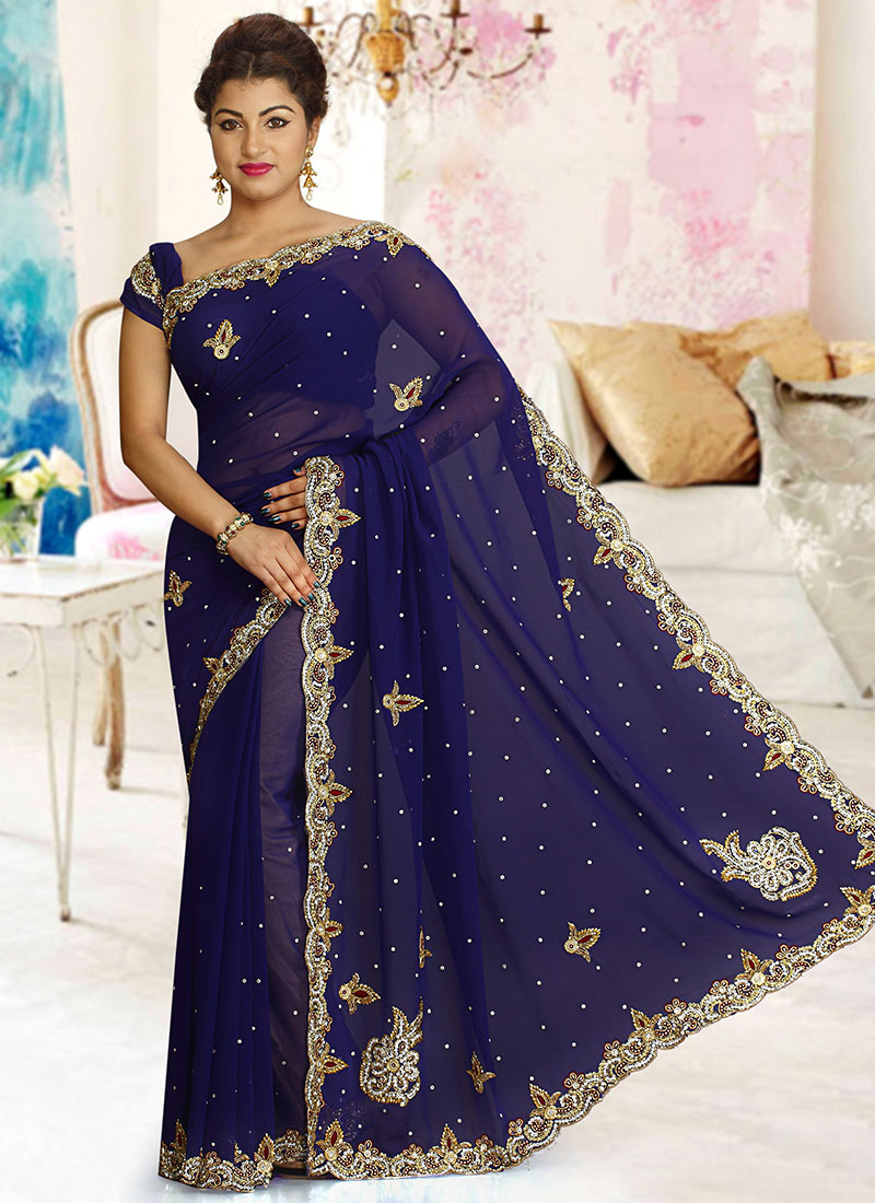 fd7c36df0b3 Buy Navy Blue Georgette Saree
