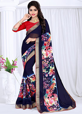 Navy Blue Georgette saree