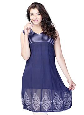 Navy Blue Georgette Short Kurti