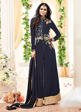 Navy Blue Georgette Straight Pant Suit