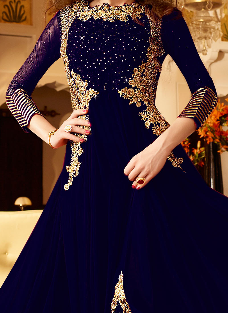 Buy Navy Blue Georgette Straight Pant Suit Stones