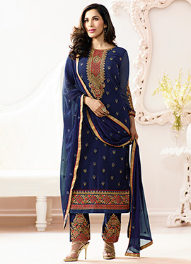 Sophie Choudhry Navy Blue Straight Pant Suit