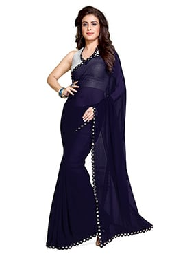 Navy Blue Georgette Tikki Worked Border Saree
