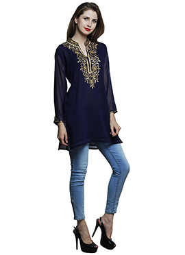 Navy Blue Georgette Tunic