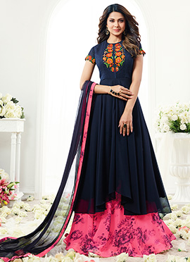 Jennifer Winget Navy Blue Georgette Umbrella Lehen