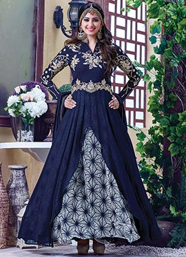 Navy Blue Gerogette Layered Anarkali Suit