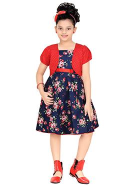 Navy Blue Jacket Style Kids Dress