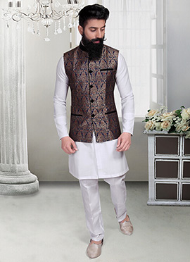 Navy Blue Jacquard Foliage Designed Nehru Jacket
