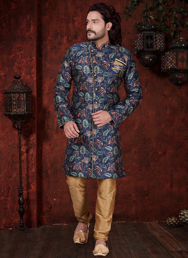 Indian Designer Havy Jackard Digital Print Sherwani Mens Traditional Ethnic Indo western  Suit Indo Western
