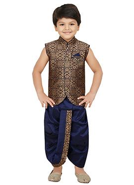 Navy Blue Jacquard Kids Dhoti Kurta