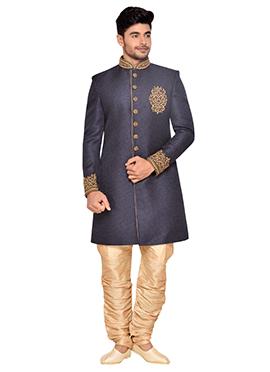 Navy Blue Jute Achkan Sherwani