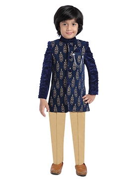 Navy Blue Jute Kids Sherwani