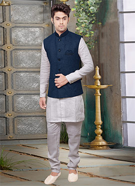 Navy Blue Jute Nehru Jacket