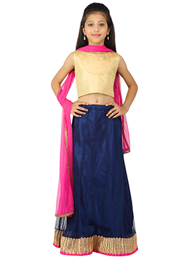 Navy Blue K And U Lehenga Choli