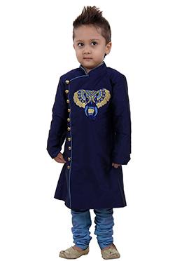 Navy Blue Kids Kurta Pyjama