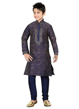 Navy Blue Kids Kurta Pyjama