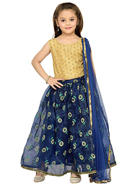 Navy Blue Kids Lehenga Choli