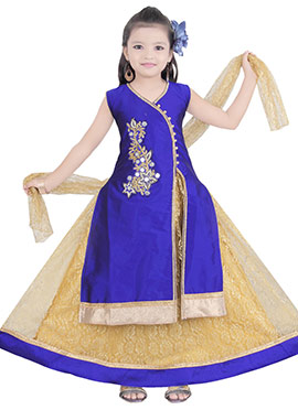 Navy Blue Kids Long Choli Lehenga