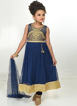 Navy Blue Kids Net Anarkali Suit