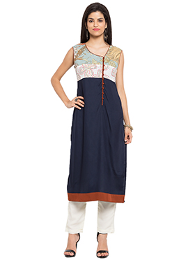 Navy Blue Knee Length Straight Kurti