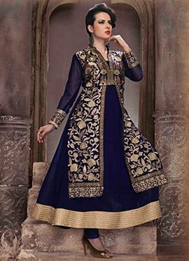 Navy Blue Layered Anarkali Suit