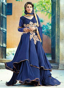 Navy Blue Layered Floor Length Anarkali Suit