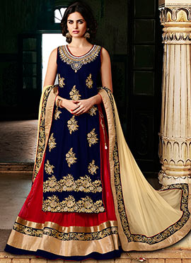 Navy Blue Long Choli Umbrella Lehenga