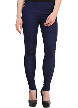 Navy Blue Lycra Cotton Straight Pant