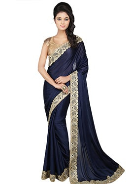 Navy Blue Lycra Embroidered Border Saree
