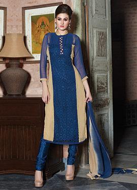 Navy Blue N Beige Georgette Churidar Suit