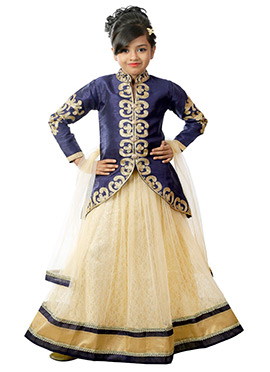 Navy Blue N Cream Kids Long Choli A Line Lehenga