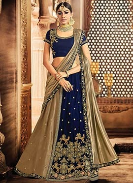 Navy Blue N Gold Embroidered A Line Lehenga