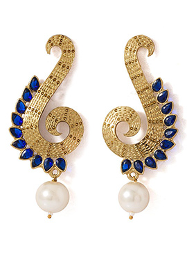 Navy Blue N Golden Kundan Earrings