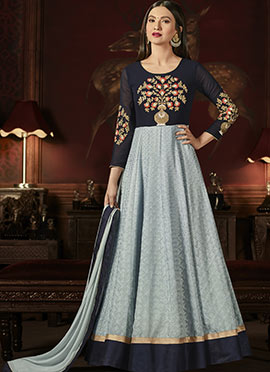 Gauhar Khan Navy Blue N Grey Anarkali Suit