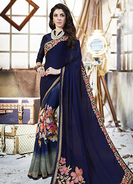 Navy Blue N Grey Half N Half Saree