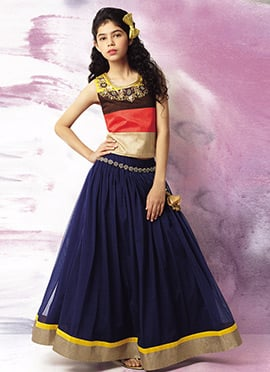 Navy Blue N Multicolor Kids A Line Lehenga Choli