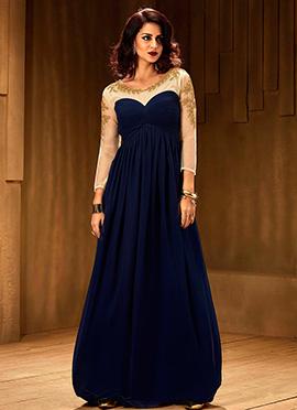 Navy Blue N Off White Anarkali Gown