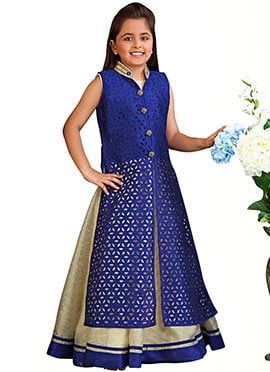 Navy Blue N Off White Embroidered Anarkali Gown