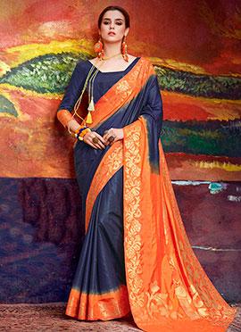 Navy Blue N Orange Art Silk Saree