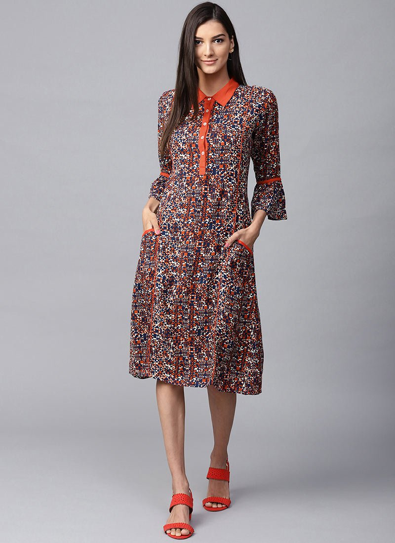 Buy Navy Blue N Orange Cotton Rayon Dress, Printed, dresses and gown ...