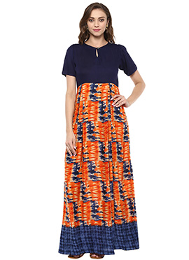 Navy Blue N Orange Rayon Dress