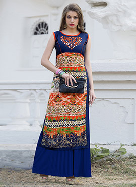 Navy Blue N Orange Rayon N Art Silk Kurti