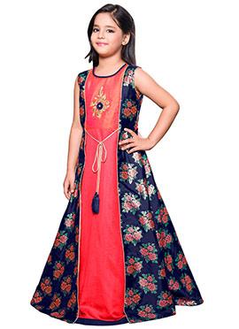 Navy Blue N Peach Art Silk Anarkali Gown