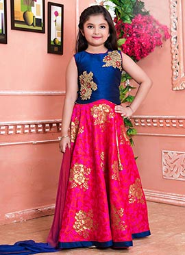 Navy Blue N Pink Art Silk Kids Lehenga