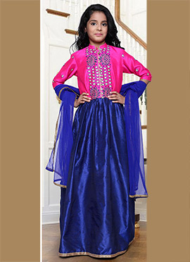 Navy Blue N Pink Kids Anarkali Suit